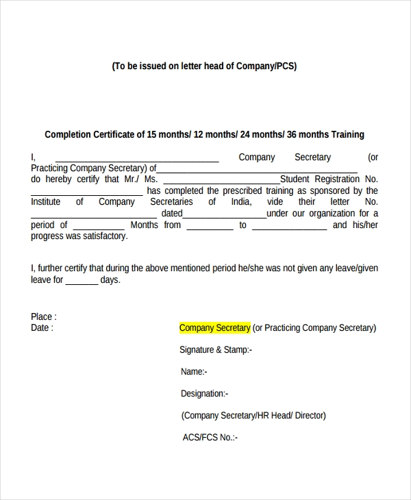 11 Internship Certificate Formats Free Printable Word Pdf Samples Certificate Format Certificate Of Completion Template Certificate