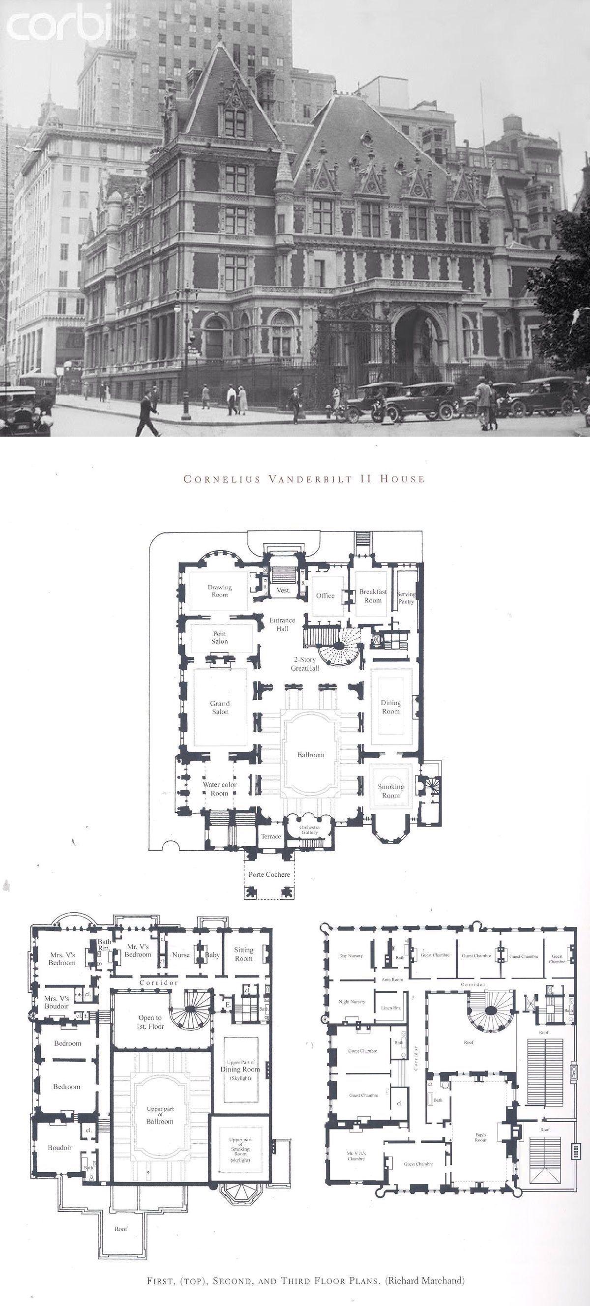 Cornelius Vanderbilt Ii House Architectural House Plans Mansion Floor Plan Mansion Plans