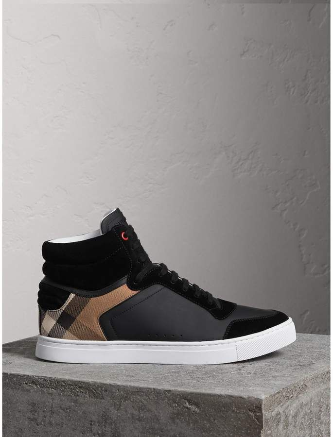 Leather and Suede High-top Sneakers - White Burberry oFr0dw7R