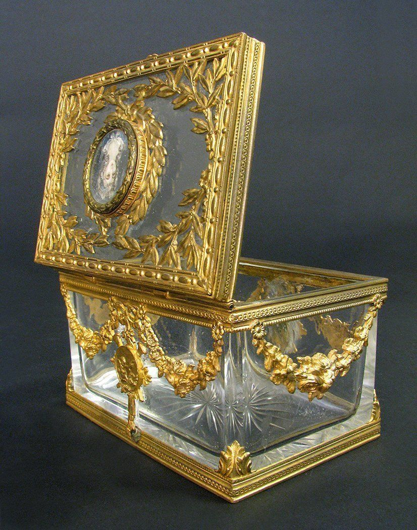Lot: 19th C. French Bronze & Baccarat Crystal Jewelry Box, Lot ...