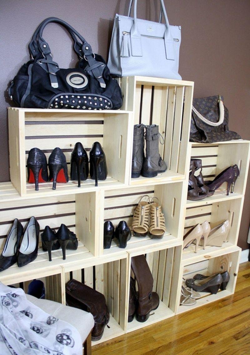 Schuhregal Selber Bauen Holz Kisten Stapeln Idee Korridor Moebel