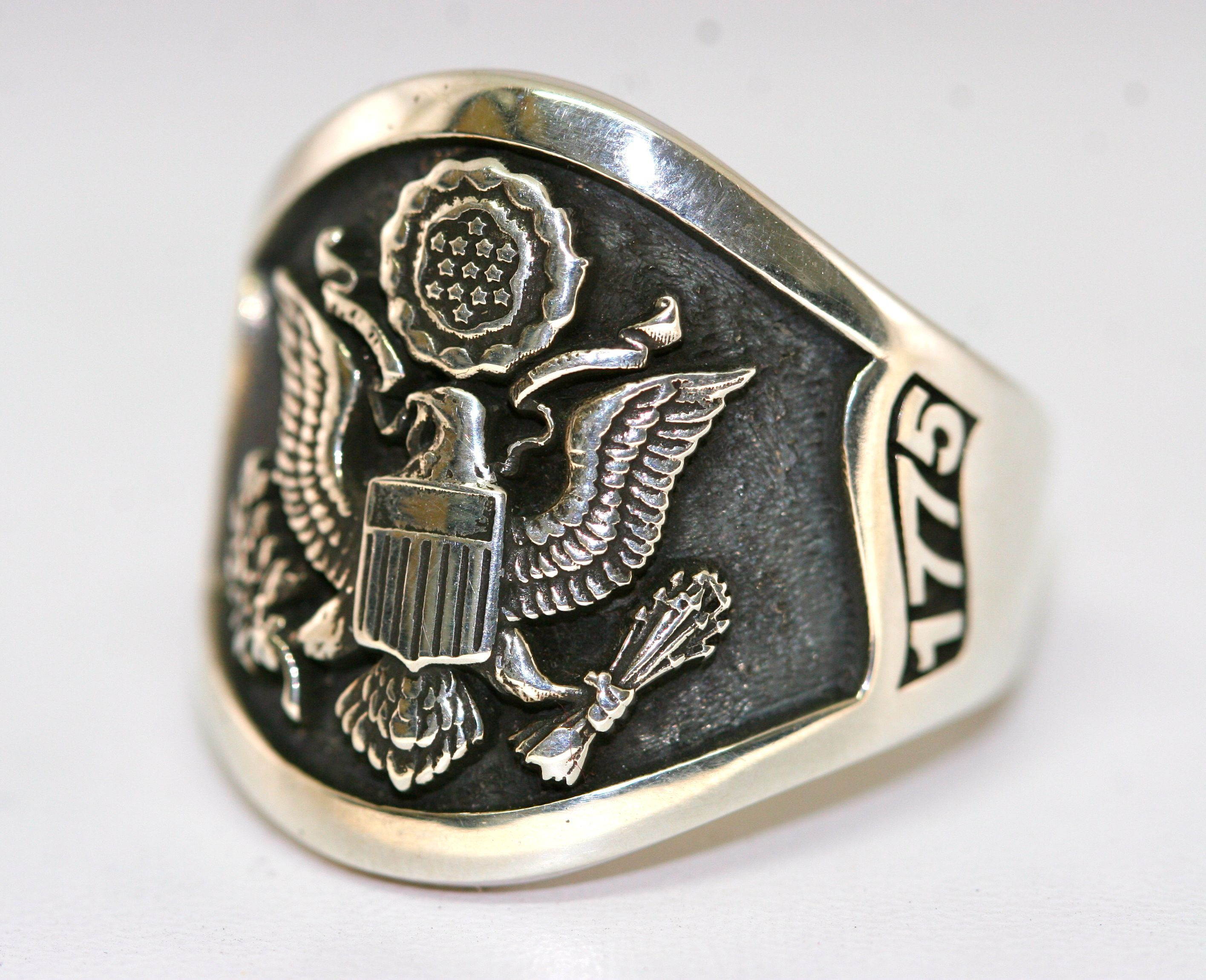 Amazing custom sterling silver army ring made by us