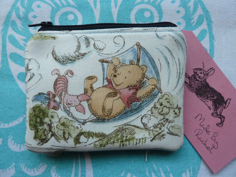 Handmade Card Coin Purse Piglet Winnie the Pooh Fabric Pouch Harris Tweed Padded in Clothes, Shoes & Accessories, Women's Accessories, Purses & Wallets | eBay