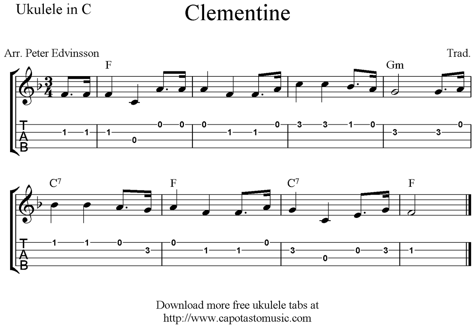 Clementine Ukulele Sheet Music Free Printable Ukulele Sheet