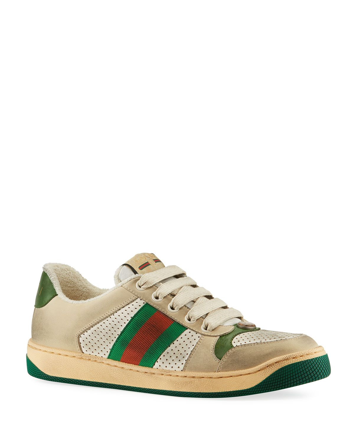 Gucci Screener Distressed Lace-Up