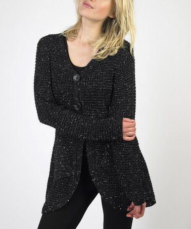 Take a look at this Black Speckled Two-Button Cardigan by Sioni on #zulily today!