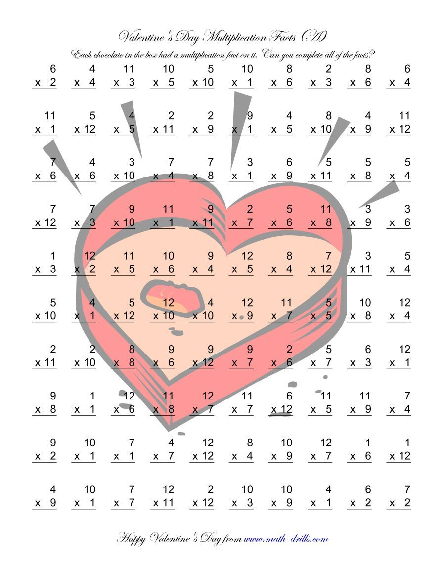 The Multiplication Facts to 144 (A) math worksheet from the Valentine's Day Math Worksheets page at Math-Drills.com.