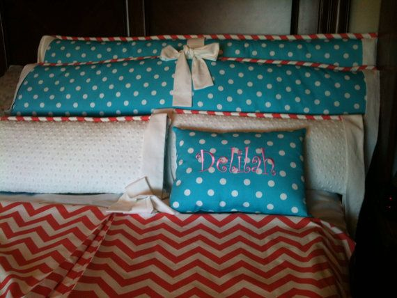 CHEVRON Coral  and Turquoise FUN Polka Dots by MamaShowedMeHow, $310.00