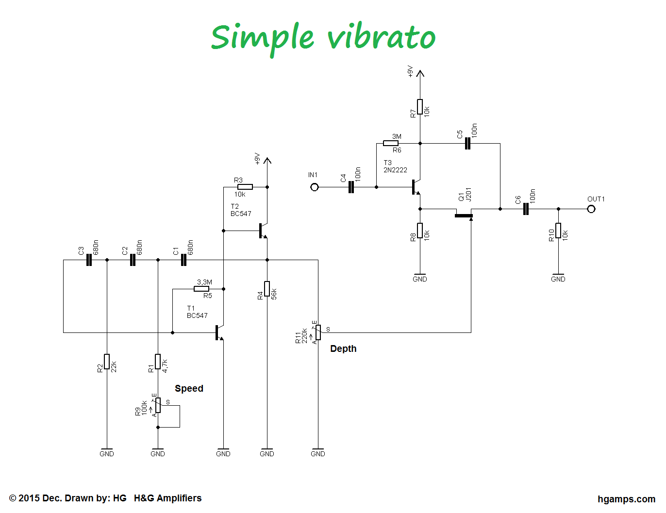 this circuit is a very simple but good sounding guitar vibrato effect a similar effect can be achieved as a tube amp tremolo effects  [ 1372 x 1057 Pixel ]