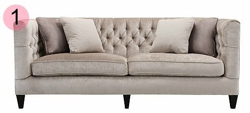 Tufted Grey Couch Spearmint Decor