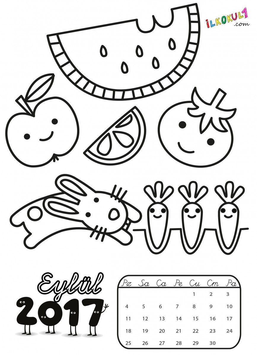 2017 Takvim Boyama Sayfaları Boyama Preschool Art For Kids Ve
