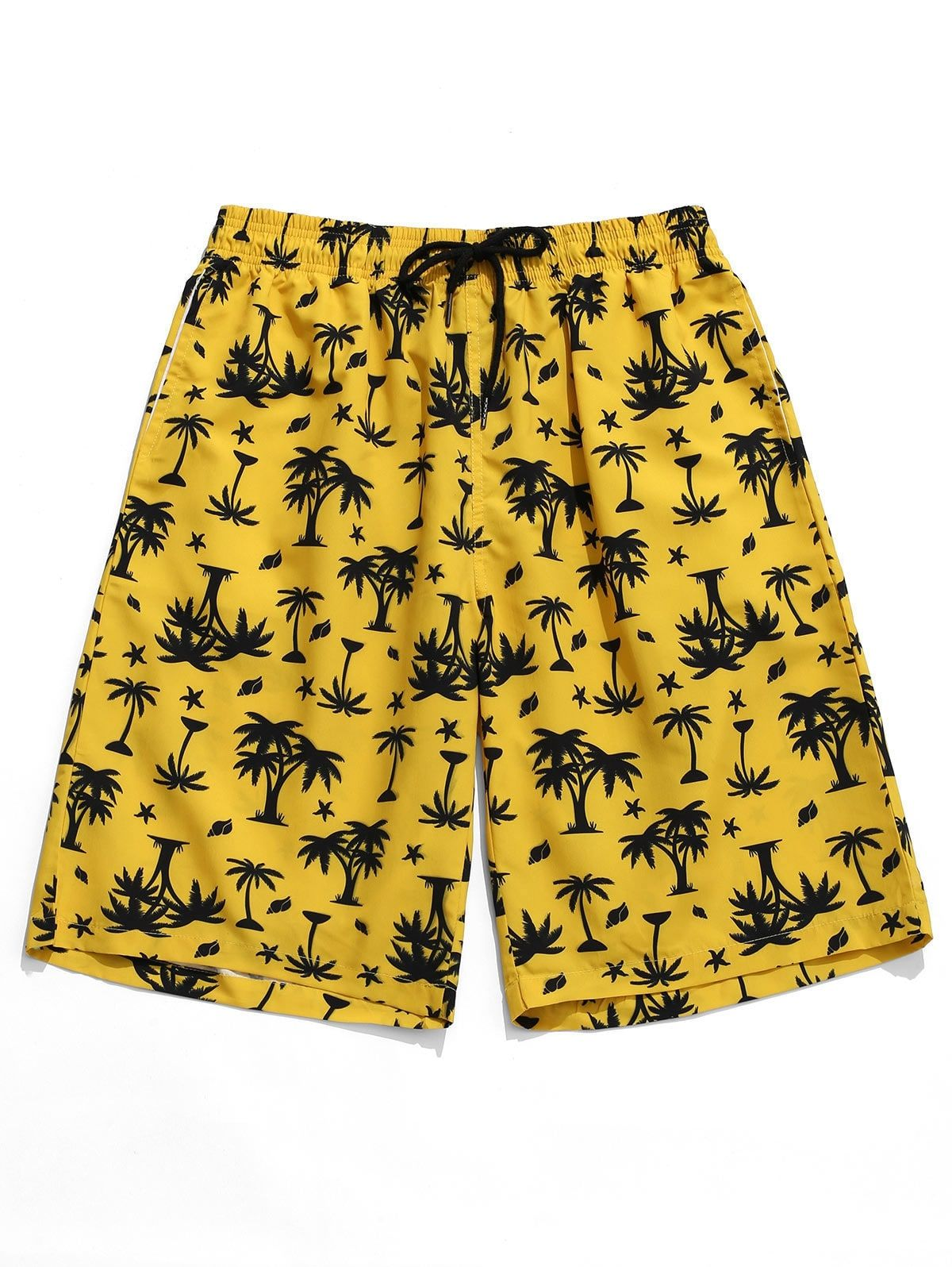 Hawaii Palm Print Board Shorts YELLOW , SPONSORED, Print