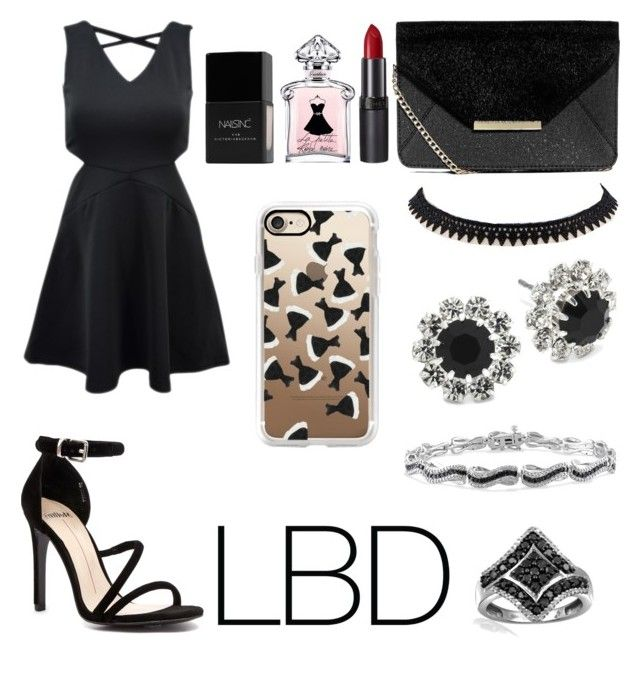 """Little Black Dress"" by bremartin on Polyvore featuring Boohoo, Mollini, Vieste Rosa, Miadora, Jewelonfire, Rimmel, Guerlain, Nails Inc. and Casetify"