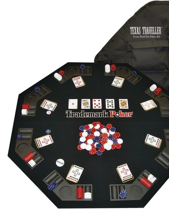 Traveller Table Top 300 Chip Travel Set 48 Inch Folding Table Top Carrying Case 300 Casino Style Poker Chips 100 Blue Poker Poker Table Top Poker Table