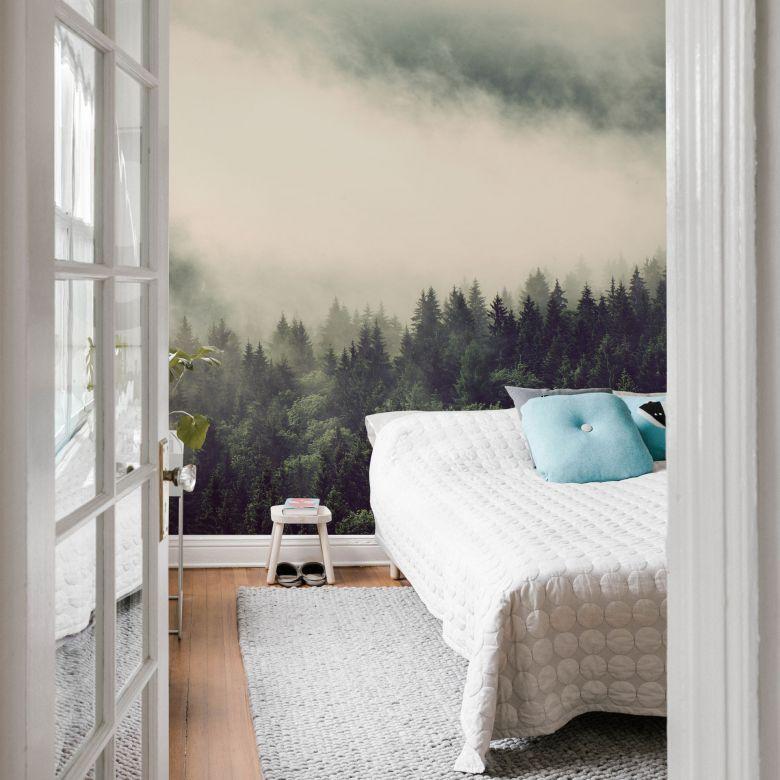 fototapete nebel im wald 02 192x260 cm in 2019. Black Bedroom Furniture Sets. Home Design Ideas