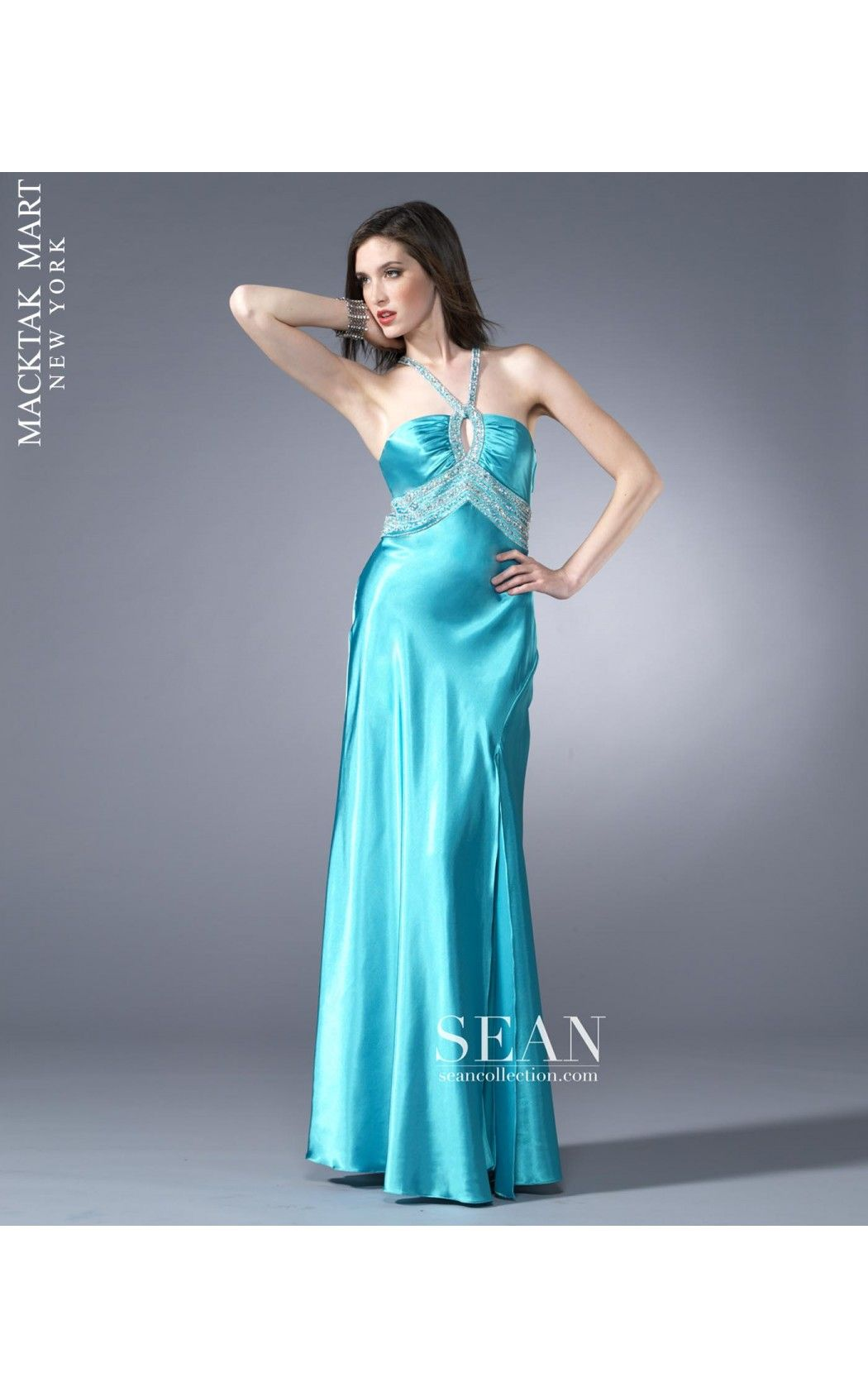Sean Express 90181 long aqua color dress #prom | MackTak New ...