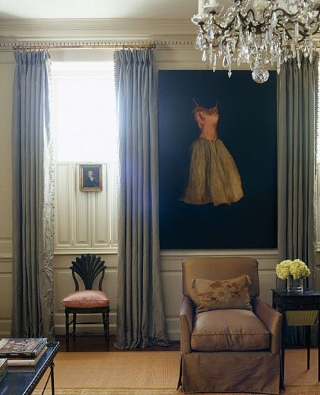 Tall and elegant triple pleat curtains (interlined silk I think
