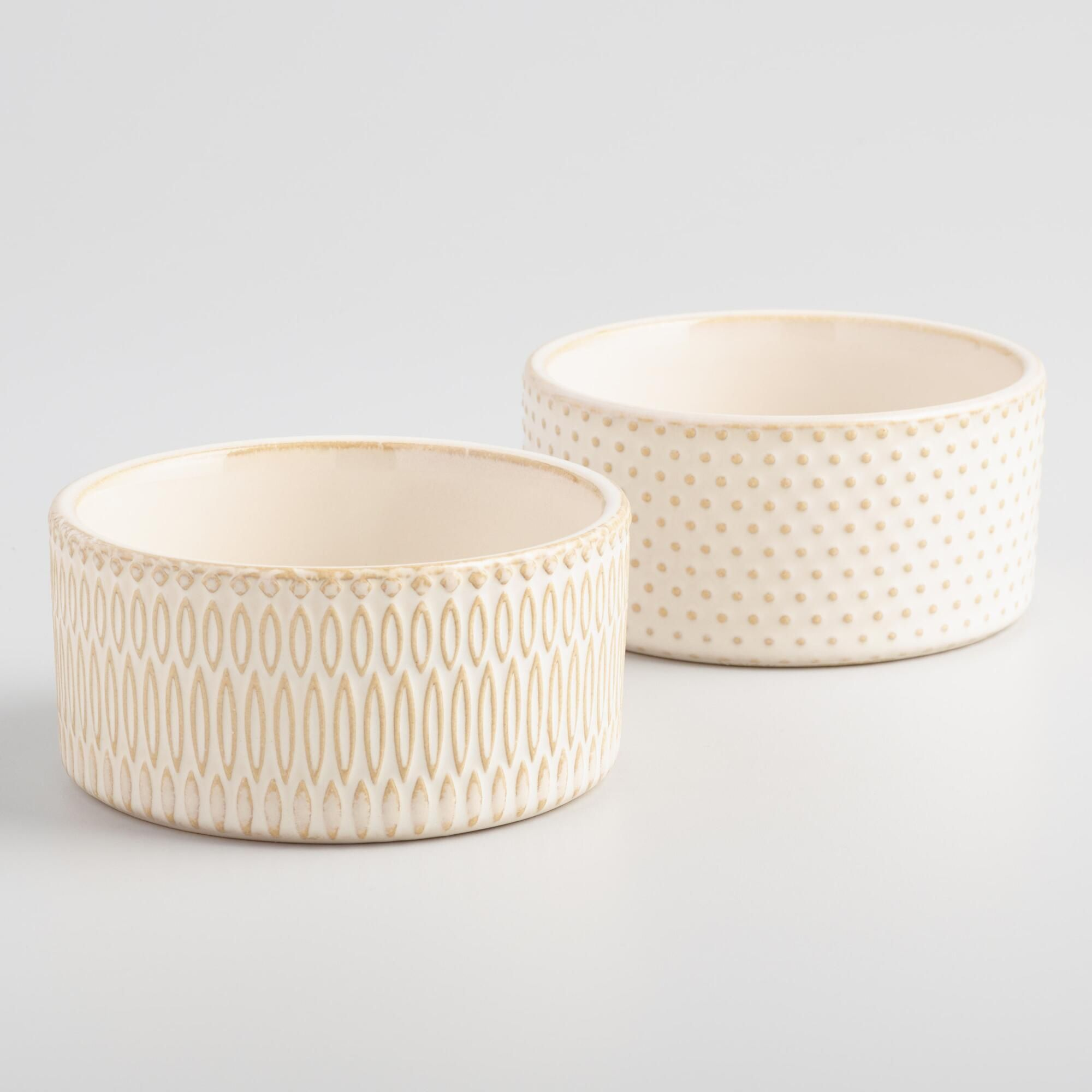 Crafted Of Stoneware With Two Chic Textured Designs Our Exclusive Neutral Hued Ramekins Are The Perfect Size For Souffles Ramekins Stoneware Stoneware Baker