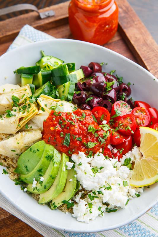 Mediterranean Quinoa Bowls with Romesco Sauce - Closet Cooking