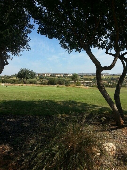 The private villas in the distance