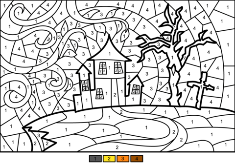Halloween Haunted House Color By Number Coloring Page Free Halloween Coloring Pages Halloween Coloring Pages Halloween Coloring
