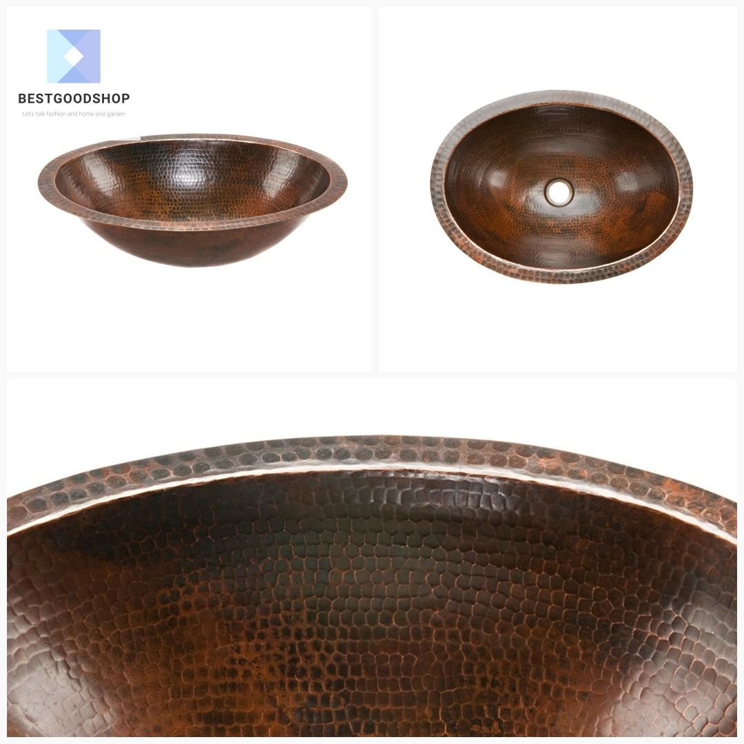 Oval Hammered Copper Bathroom Vessel Sink 17 X 12 Inch Vessel Sink Bathroom Copper Bathroom Vessel Sink