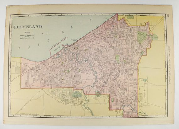 1903 Large Antique Cleveland OH Map Vintage Map Cleveland Office