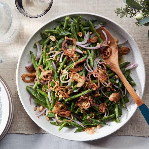 Smashed Green Bean Salad With Crispy Shallots Recipe Green Bean Salads Shallot Recipes Green Beans