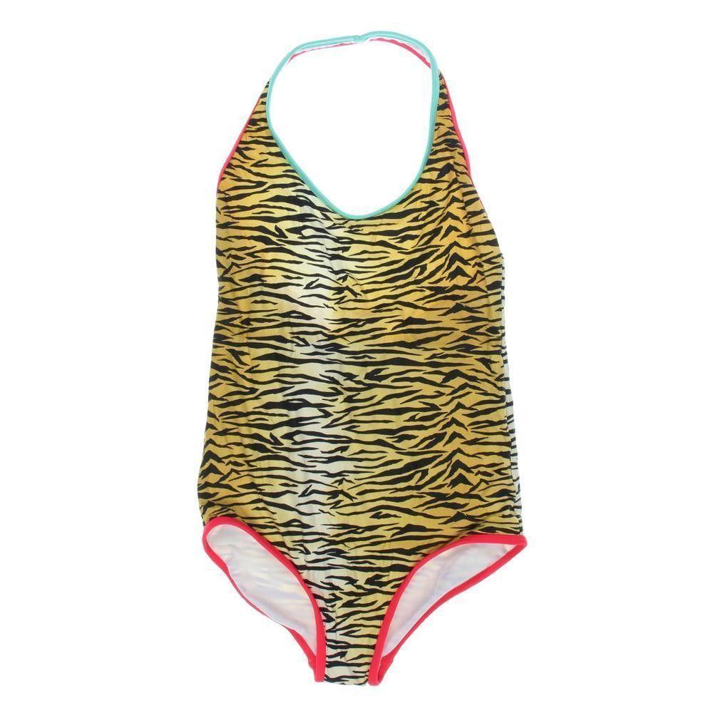 BILLABONG Girls Multi Tiger Print Halter One-Piece Swimsuit 12