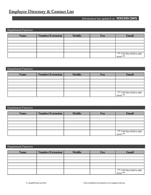 Employee Directory and Contact List Form Template and Time - appraisal order form