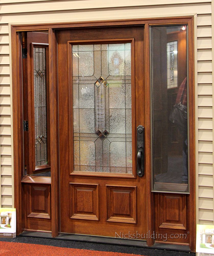 Venting Sidelights Door With Screen Entrance Wooden
