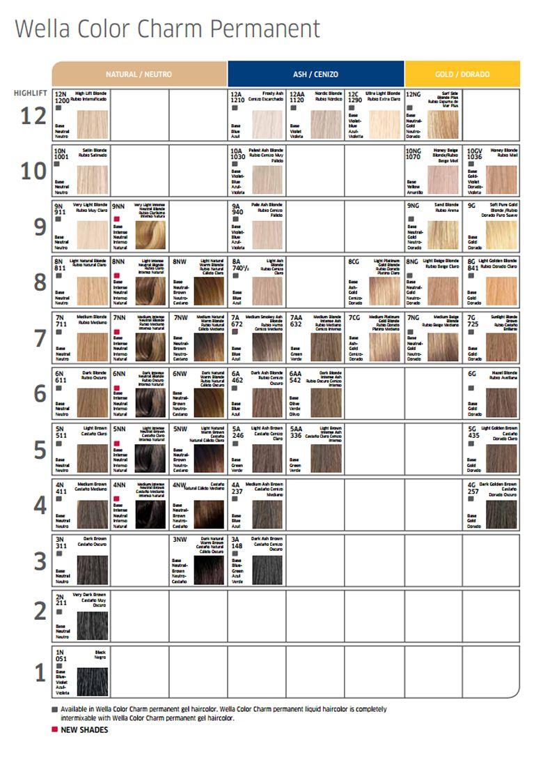 Wella Color Charm Liquid Cream 1 42oz Hair Dye Colors Hair Dye Color Chart Ion Hair Color Chart