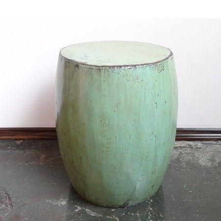 Marvelous Green Painted Drum Stool/Side Table