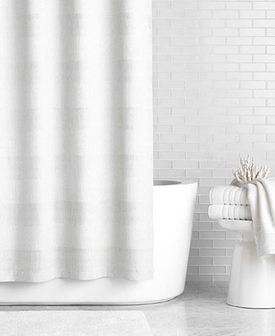 70 Hotel Collection 72 X 84 Extra Long Waffle Knit Shower Curtain