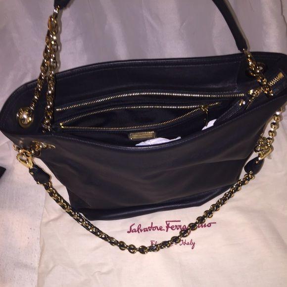 Farragamo Purse Black Ferragamo Purse with gold chains Ferragamo Bags