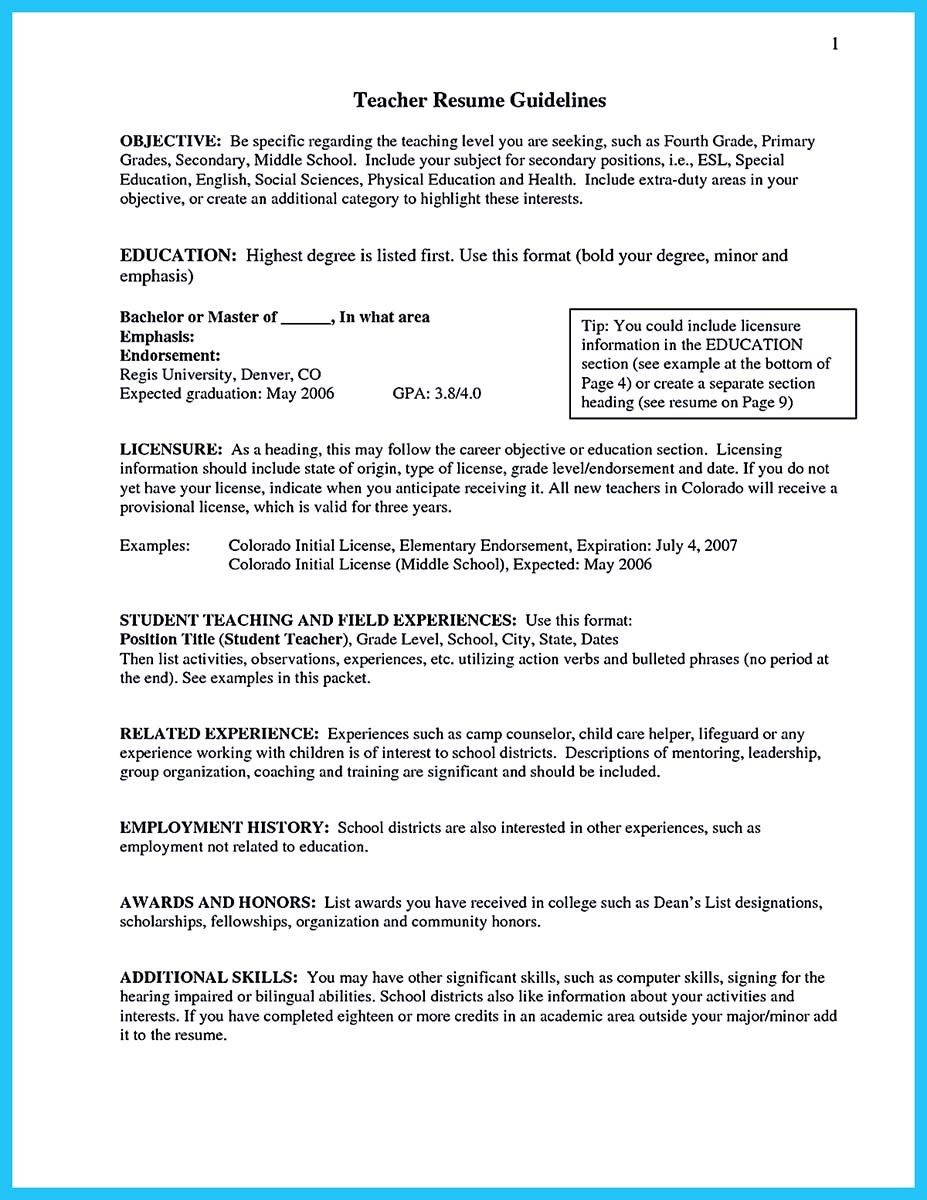 Resume For Teachers Examples Cool Grabbing Your Chance With An Excellent Assistant Teacher