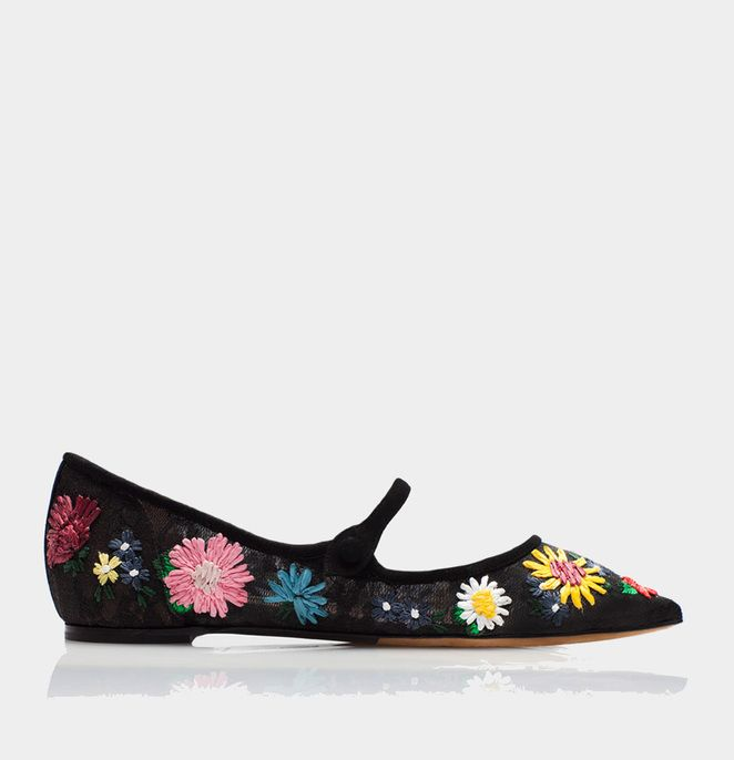 Hermione Meadow Black Lace/Multi Raffia Floral Embroidery - Tabitha Simmons