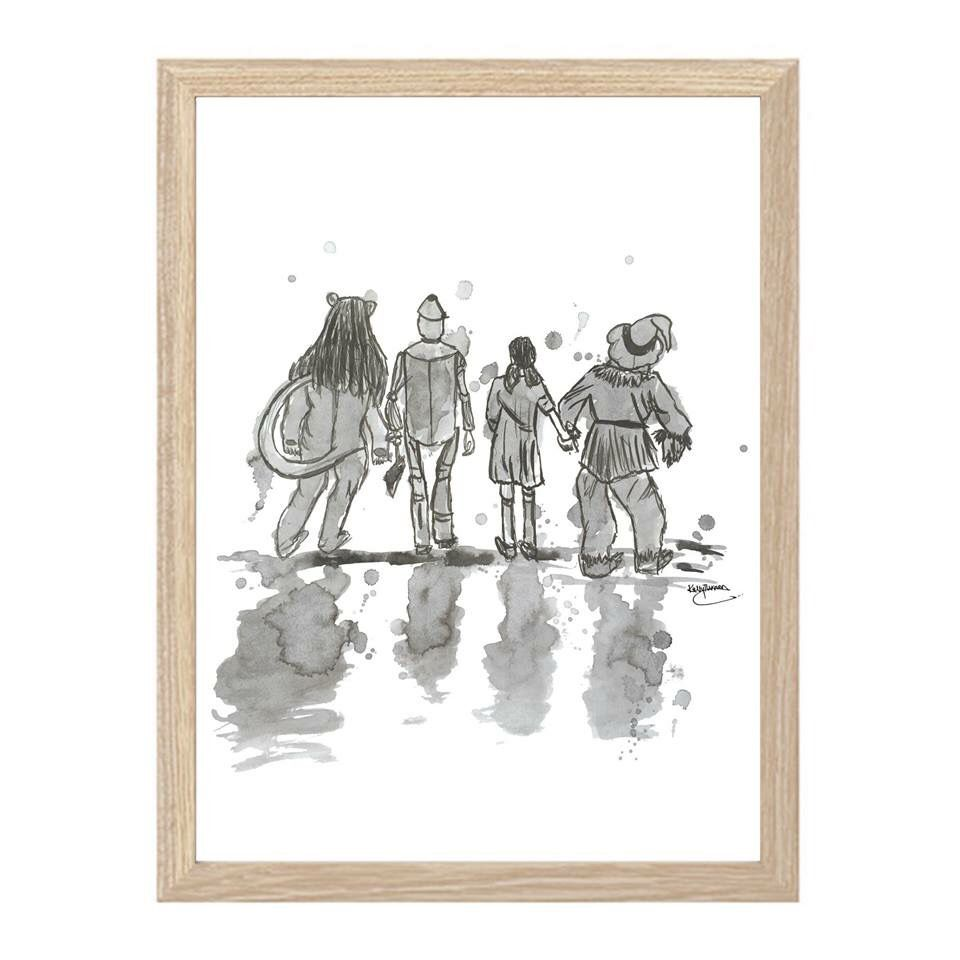 the wonderful wizard of oz... ink + water... A3 framed print ...