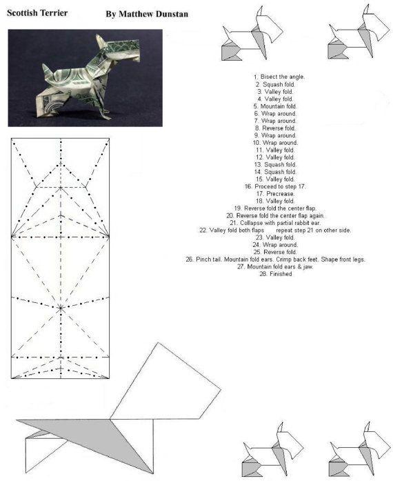 Folding diagram 1 of 3 scottish terrier dog money for Easy dollar bill origami fish