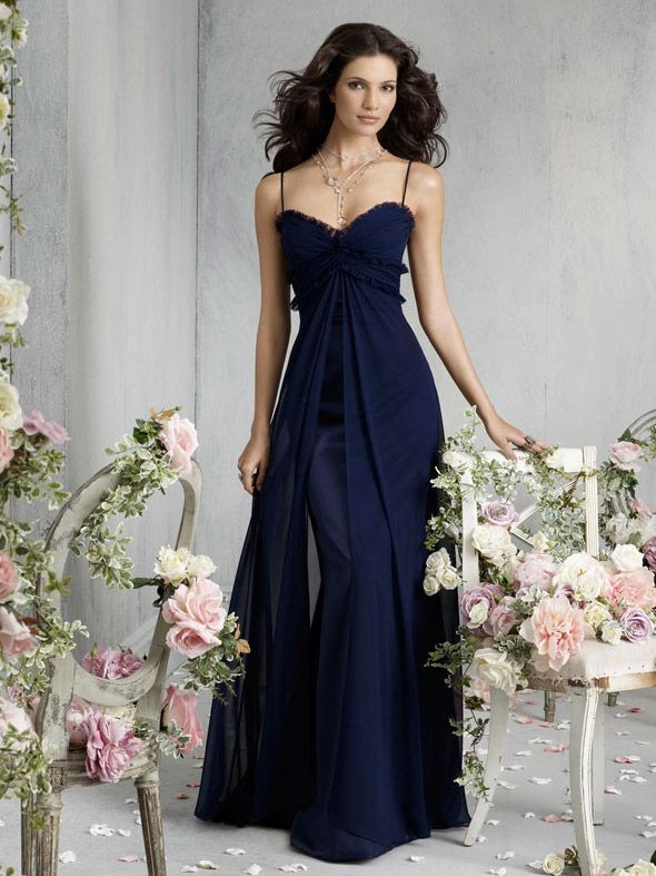 Indigo Satin A Line Floor Length Sweetheart Bridesmaid Dress With Spaghetti Straps