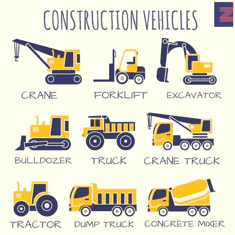 vocabulary construction vehicles english language esl