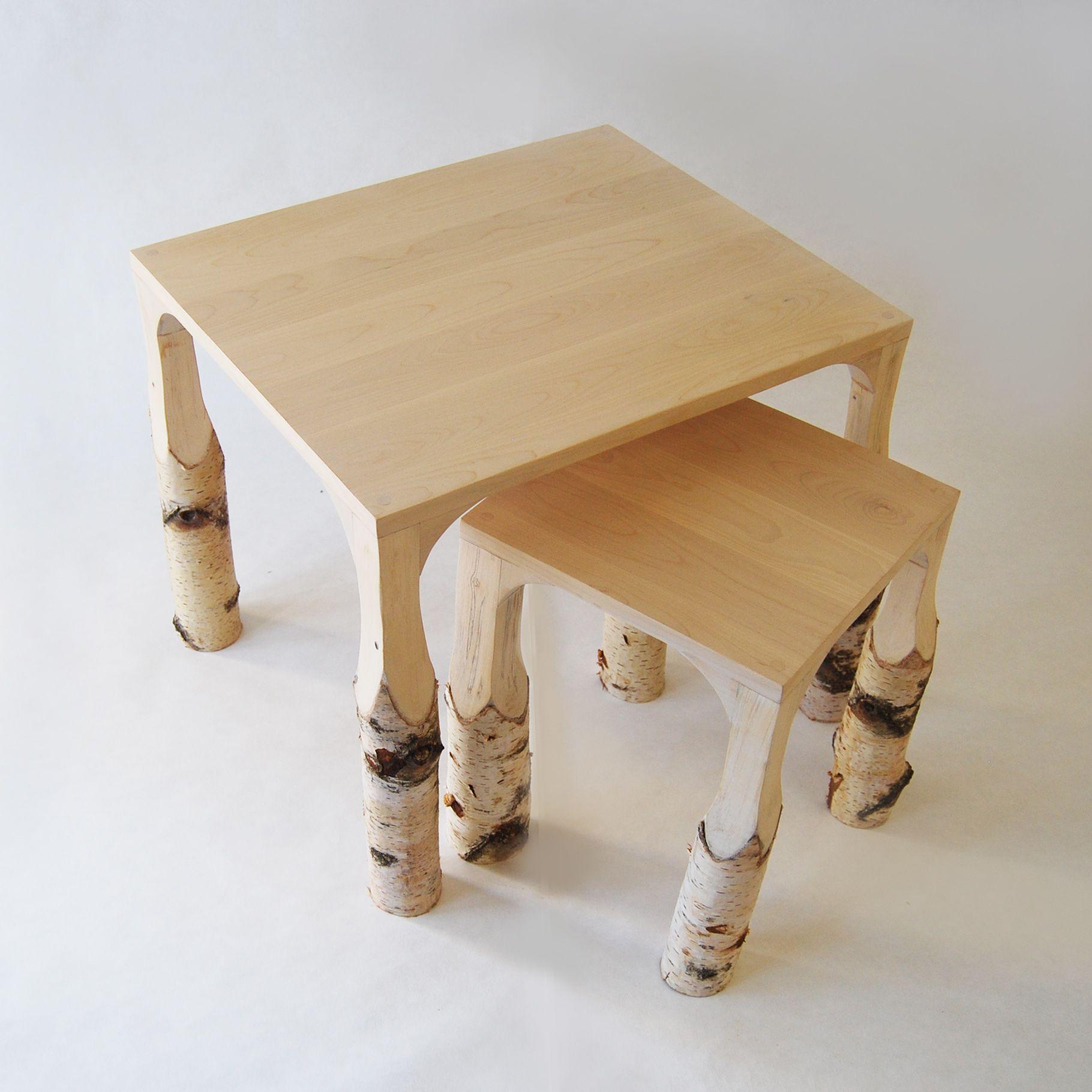 Le Tabouret & La Table Basse N 2 Bouleau -