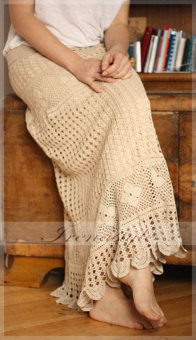 MADE TO ORDER Lace skirt maxi .Cowboy style . Crochet handmade , custom made.