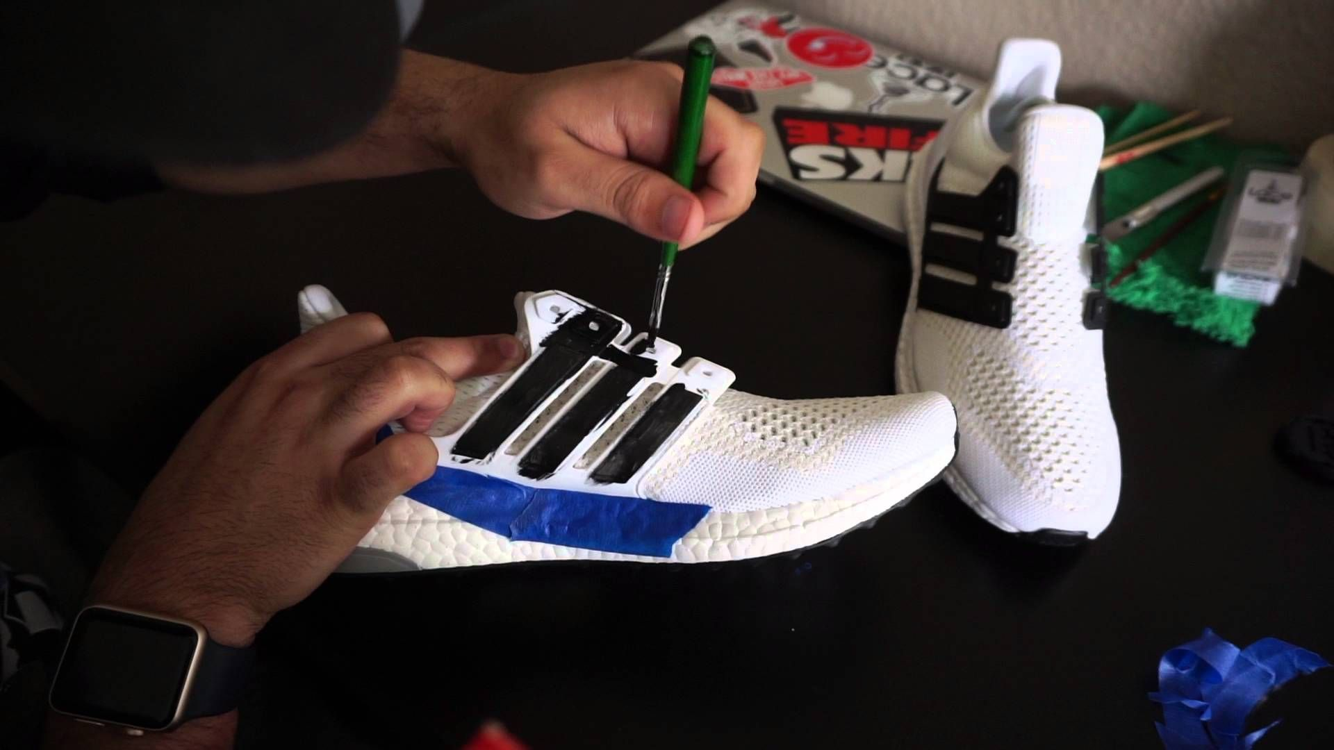 ded838a5a0b35 Custom White Ultraboost!!! black caged boost tutorial + On Feet ...