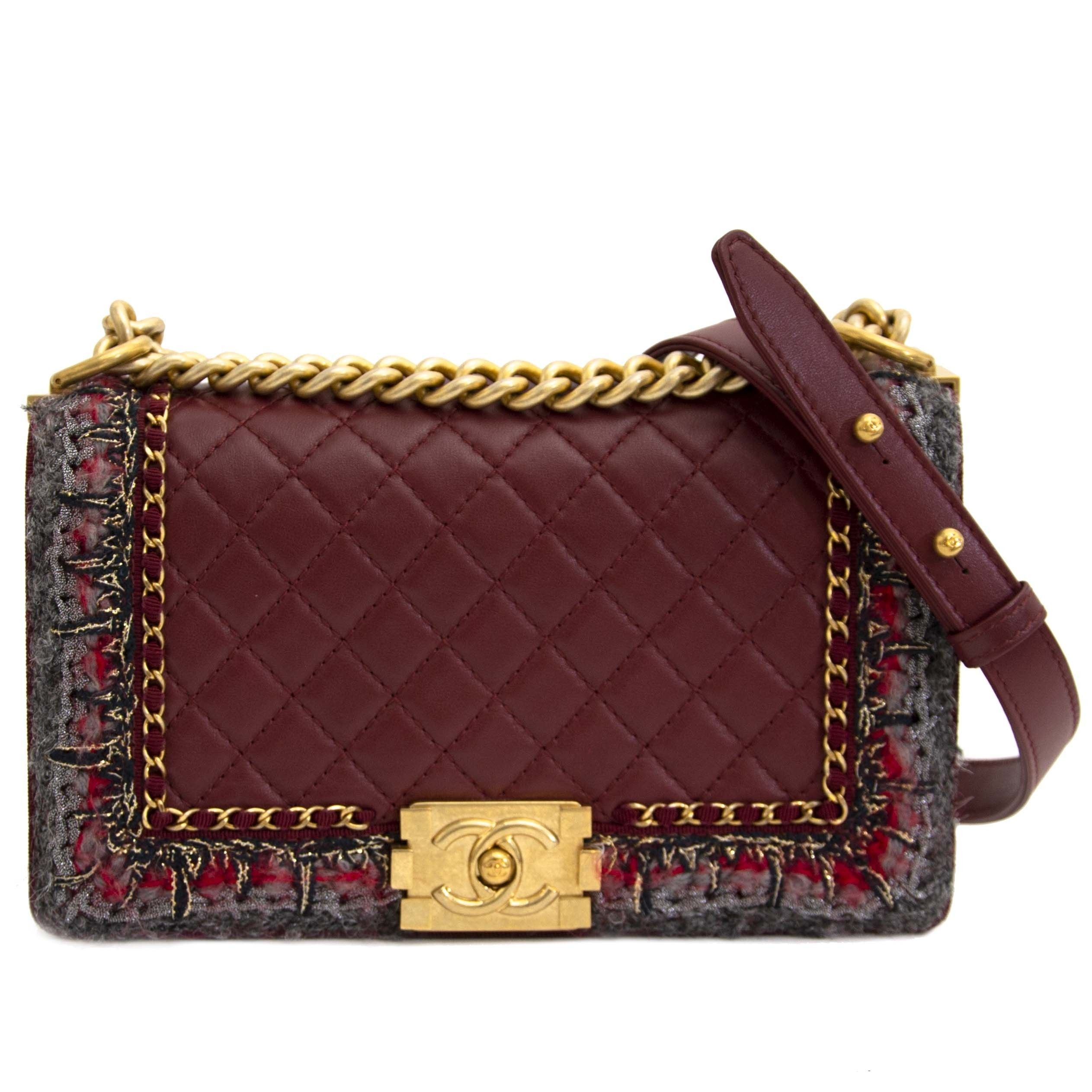 791d3eea3fbb Chanel Medium Boy Bag Burgundy Tweed | We LOV Chanel in 2019 ...
