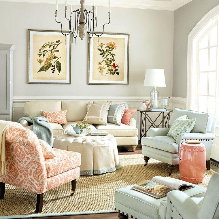 otomana redonda y sillones azules en el salón moderno | For the Home ...