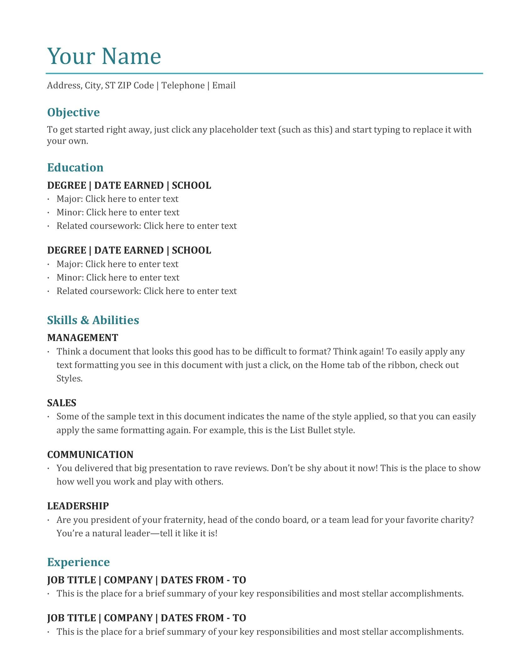Resume (color) Microsoft word resume template, Simple