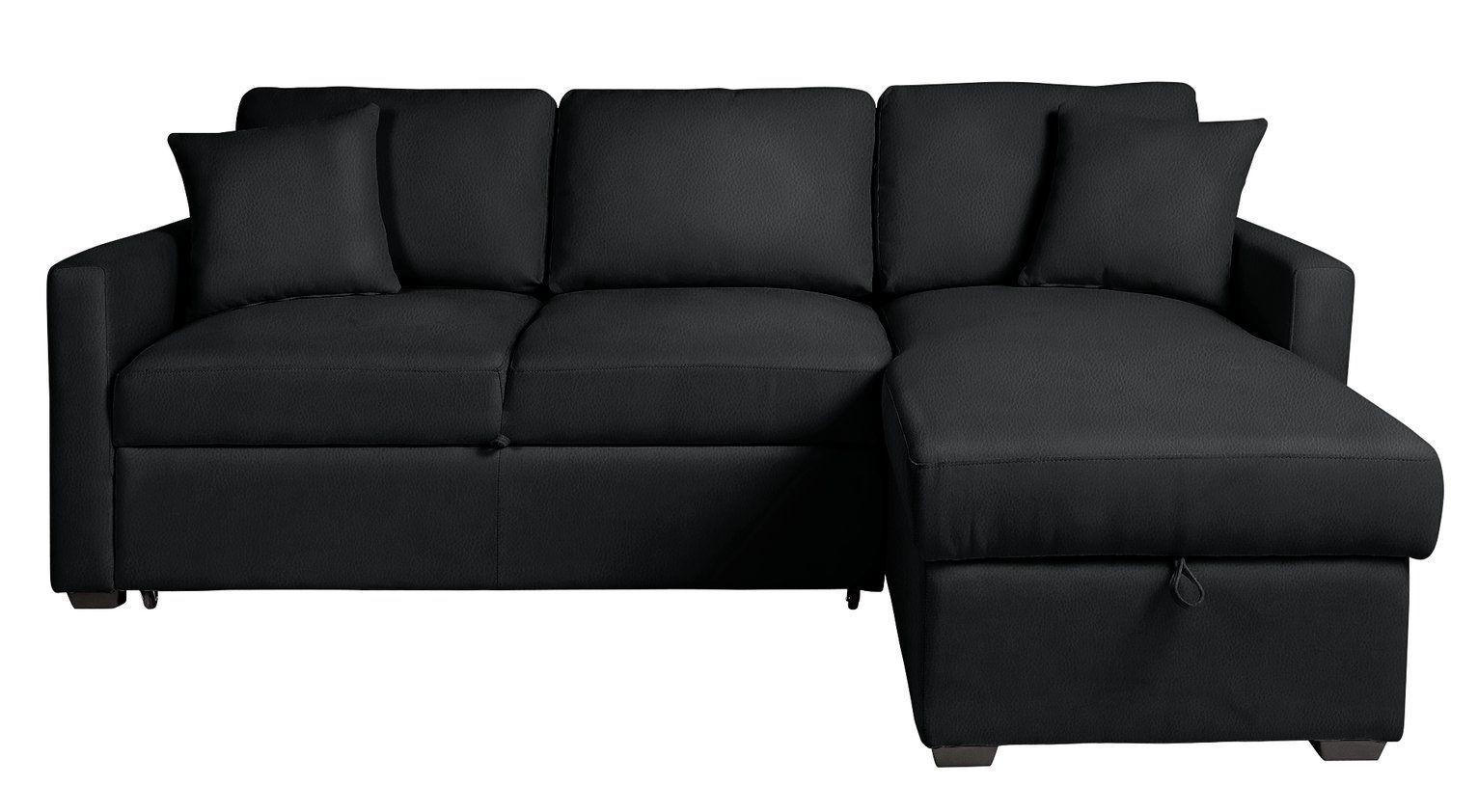 Argos Home Reagan Right Corner Faux Leather Sofa Bed Black Argos Home Reagan Right Corner Faux Leather Sofa Bed In 2020 Leather Sofa Bed Sofa Bed Black Leather Sofa