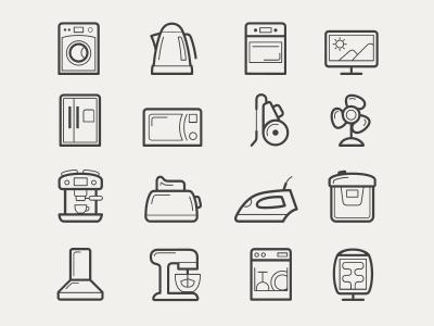 Home Appliances Icon Set Icons Home Appliances Line