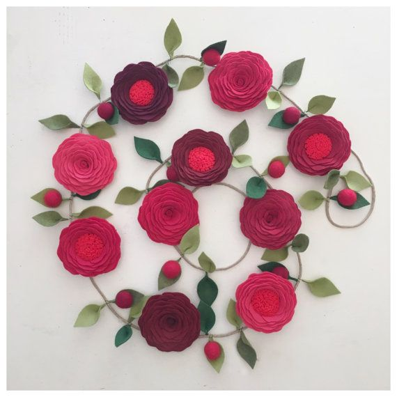 Red Roses Garland Valentines Day Garland Party Garland Felt Flower Garland Floral Garland Nursery Decor Shades Of Red Felt Flowers Party Garland Flower Garlands